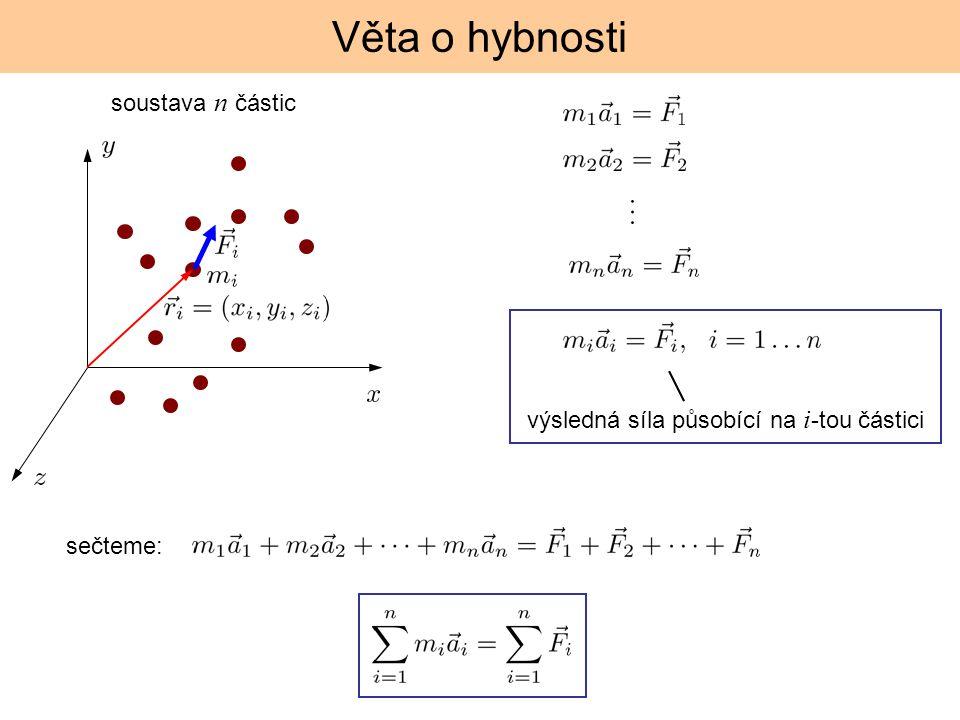 Věta o hybnosti soustava n částic výsledná síla působící na i -tou částici sečteme: