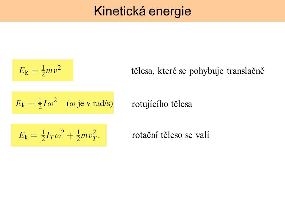 rotujícího tělesa tělesa, které se pohybuje translačně rotační těleso se valí Kinetická energie