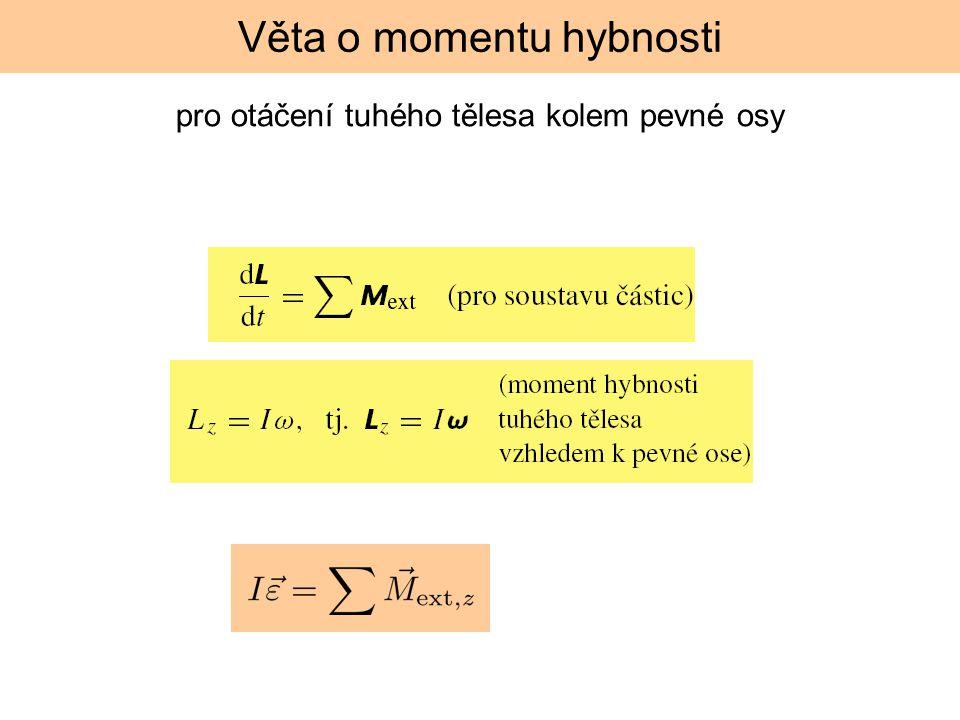pro otáčení tuhého tělesa kolem pevné osy Věta o momentu hybnosti