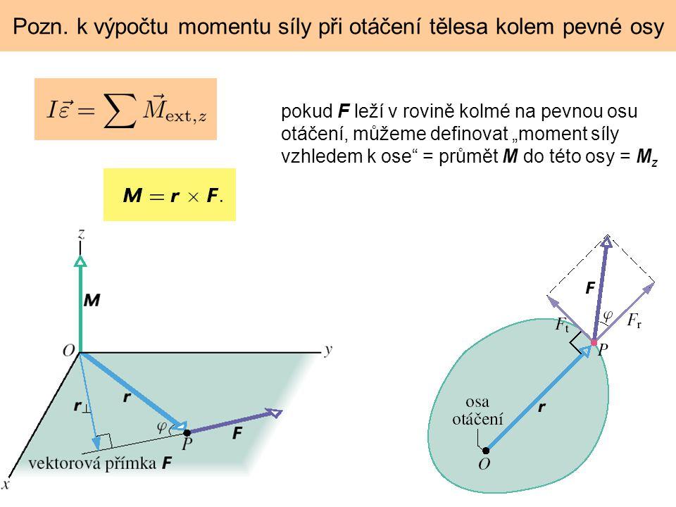 """Pozn. k výpočtu momentu síly při otáčení tělesa kolem pevné osy pokud F leží v rovině kolmé na pevnou osu otáčení, můžeme definovat """"moment síly vzhle"""