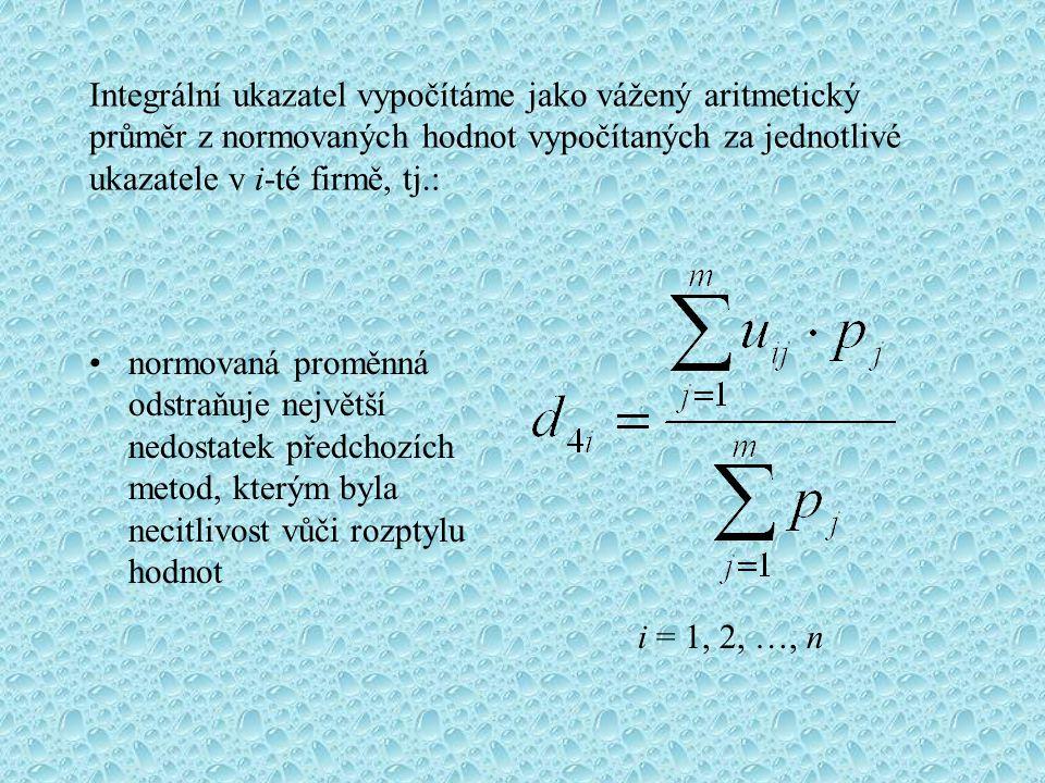 Integrální ukazatel vypočítáme jako vážený aritmetický průměr z normovaných hodnot vypočítaných za jednotlivé ukazatele v i-té firmě, tj.: normovaná p