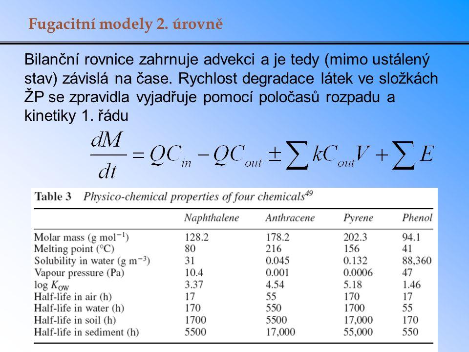 Fugacitní modely 2. úrovně Bilanční rovnice zahrnuje advekci a je tedy (mimo ustálený stav) závislá na čase. Rychlost degradace látek ve složkách ŽP s