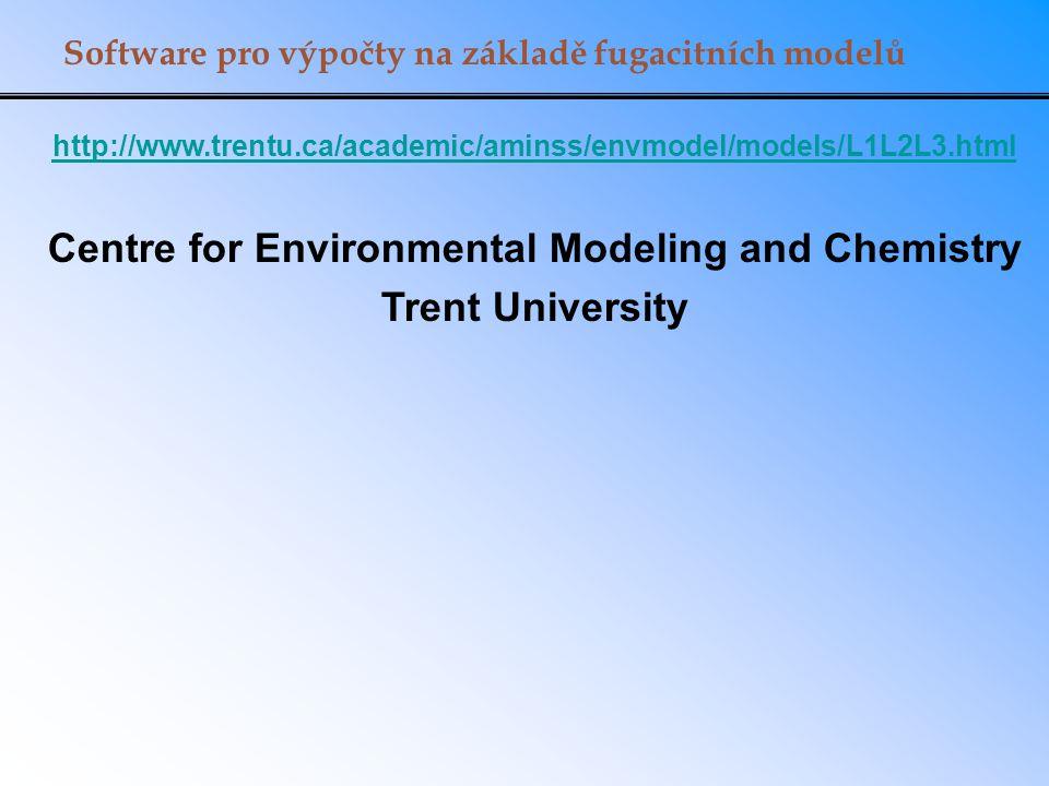 Software pro výpočty na základě fugacitních modelů http://www.trentu.ca/academic/aminss/envmodel/models/L1L2L3.html Centre for Environmental Modeling
