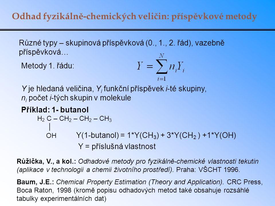 Odhad fyzikálně-chemických veličin: příspěvkové metody Různé typy – skupinová příspěvková (0., 1., 2. řád), vazebně příspěvková… Metody 1. řádu: Příkl