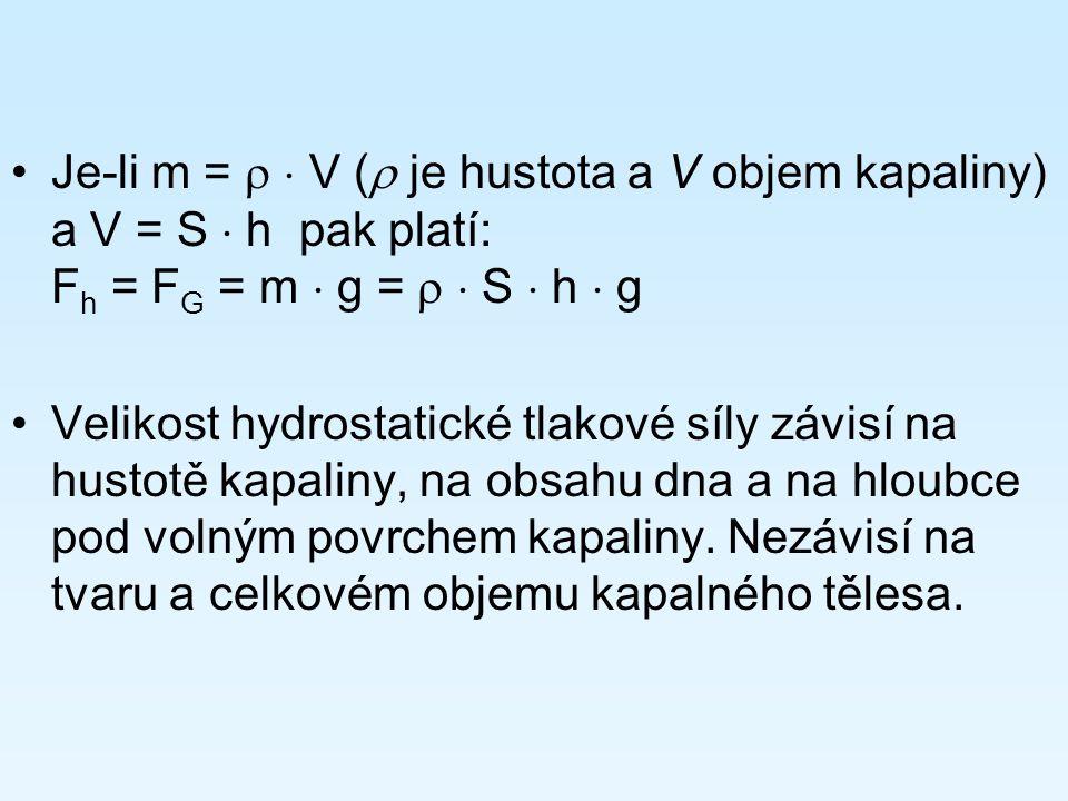 Je-li m =   V (  je hustota a V objem kapaliny) a V = S  h pak platí: F h = F G = m  g =   S  h  g Velikost hydrostatické tlakové síly závisí