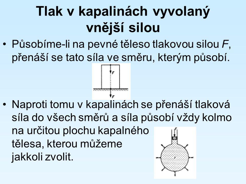 Pascalův zákon: Tlak vyvolaný vnější silou, která působí na kapalné těleso v uzavřené nádobě, je ve všech místech kapaliny stejný.