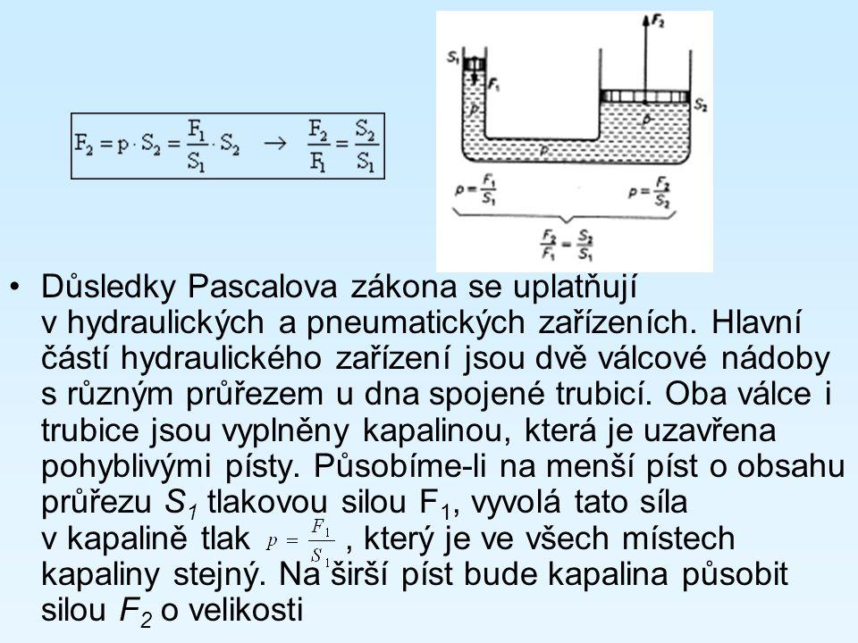 Důsledky Pascalova zákona se uplatňují v hydraulických a pneumatických zařízeních. Hlavní částí hydraulického zařízení jsou dvě válcové nádoby s různý