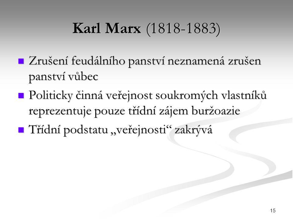 """15 Karl Marx (1818-1883) Zrušení feudálního panství neznamená zrušen panství vůbec Zrušení feudálního panství neznamená zrušen panství vůbec Politicky činná veřejnost soukromých vlastníků reprezentuje pouze třídní zájem buržoazie Politicky činná veřejnost soukromých vlastníků reprezentuje pouze třídní zájem buržoazie Třídní podstatu """"veřejnosti zakrývá Třídní podstatu """"veřejnosti zakrývá"""