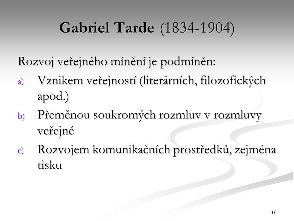 19 Gabriel Tarde (1834-1904) Rozvoj veřejného mínění je podmíněn: a) Vznikem veřejností (literárních, filozofických apod.) b) Přeměnou soukromých rozmluv v rozmluvy veřejné c) Rozvojem komunikačních prostředků, zejména tisku