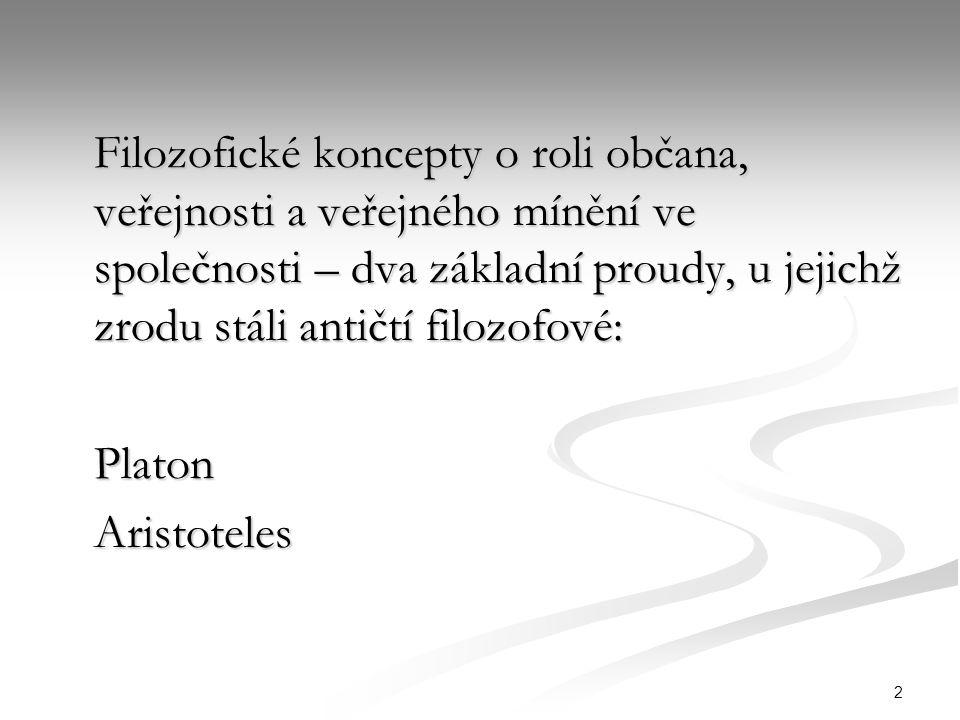 2 Filozofické koncepty o roli občana, veřejnosti a veřejného mínění ve společnosti – dva základní proudy, u jejichž zrodu stáli antičtí filozofové: PlatonAristoteles