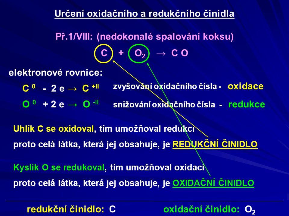 Př.2/VIII: Cu + HN O 3 → N O 2 + Cu (NO 3 ) 2 + H 2 O určit oxidační čísla u všech prvků v rovnici +IV+II +V 0 elektronové rovnice: Cu 0 → Cu +II N +V → N +IV najít prvky, které mění oxidační číslo pro tyto prvky napsat elektronové rovnice zvyšování oxidačního čísla - oxidace - 2 e + 1 e snižování oxidačního čísla - redukce