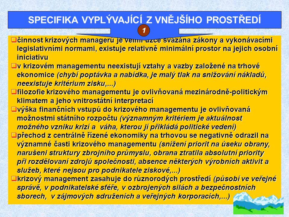  krizový management má vnitřně donucovací charakter (příkazy, nařízení, sankce, chybí osobní zainteresovanost na výsledcích,...) nařízení, sankce, chybí osobní zainteresovanost na výsledcích,...)  činnost krizového managementu má větší symbolický význam; to samo rozhodnutí, případně opatření, působí na více subjektů uvnitř samo rozhodnutí, případně opatření, působí na více subjektů uvnitř systému, jakož i mimo něj systému, jakož i mimo něj  výsledky práce krizového managementu se v období mimo krizí hůře obhajují před širokou veřejností, kritéria jejich hodnocení jsou hůře obhajují před širokou veřejností, kritéria jejich hodnocení jsou méně transparentní než v podnikatelské sféře méně transparentní než v podnikatelské sféře  velký problém je spojen se setrvačností v činnosti krizového managementu managementu  zvláštnosti vyplývajíce z fáze preventivných opatření (t.j.