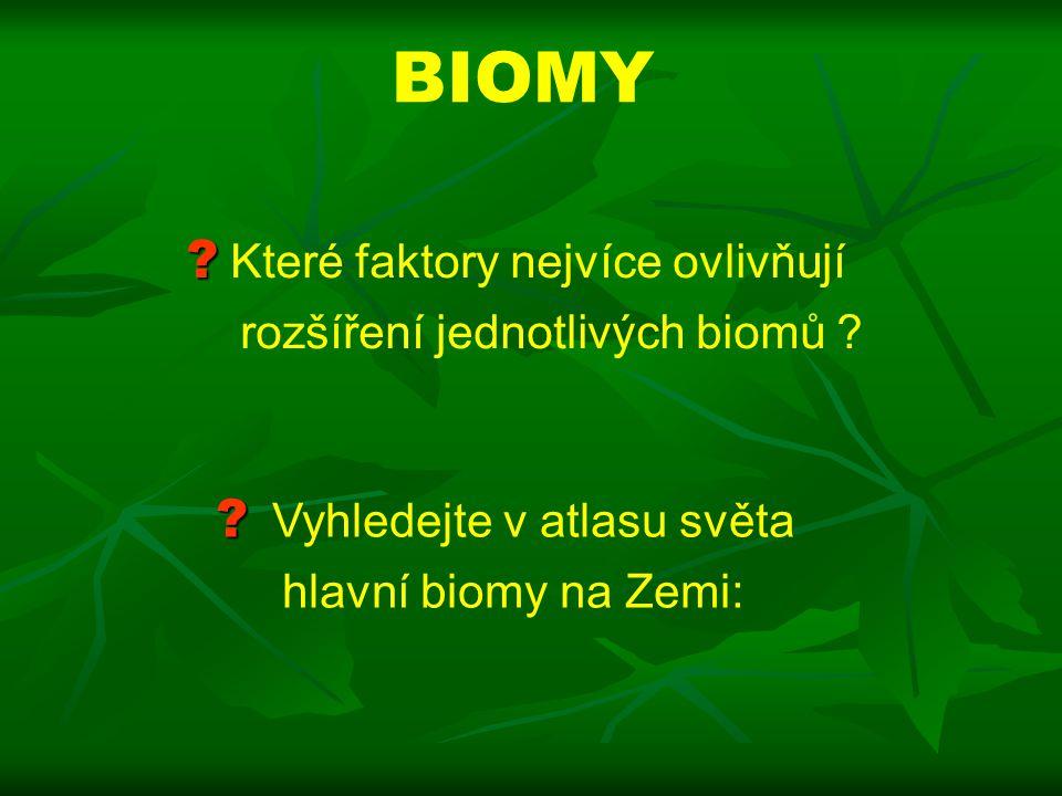 BIOMY .Které faktory nejvíce ovlivňují rozšíření jednotlivých biomů .