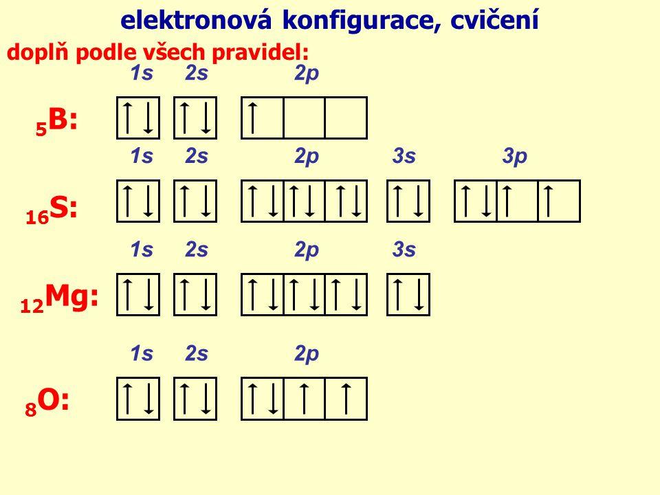 elektronová konfigurace, cvičení doplň podle všech pravidel: 1s 2s 2p 1s 2s 2p 3s 1s 2s 2p 3s 3p 5 B: 16 S: 12 Mg: 1s 2s 2p 8 O: