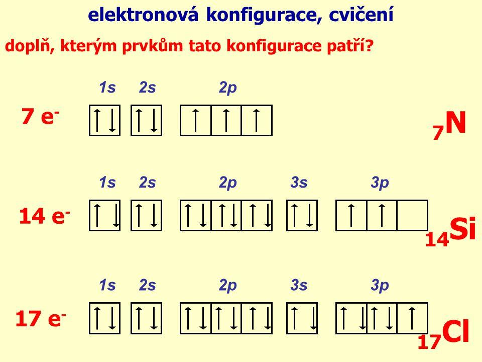 doplň elektrony do orbitalů: 1s 2s 2p 1s 2s 2p 3s 3p 5 e - 15 e - 16 e - elektronová konfigurace, cvičení