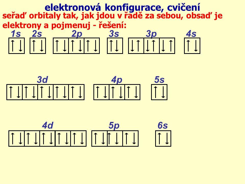 1s 2s 2p 3s 3p 4s 3d 4p 5s 4d 5p 6s elektronová konfigurace, cvičení seřaď orbitaly tak, jak jdou v řadě za sebou, obsaď je elektrony a pojmenuj - řešení: