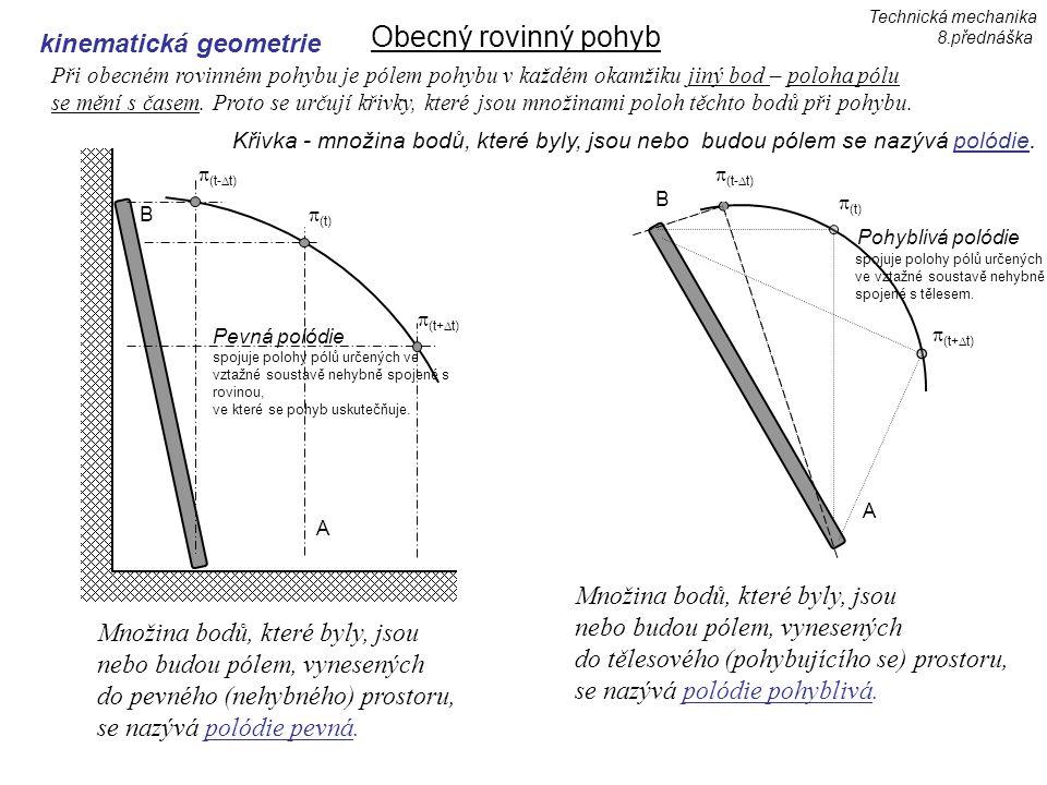 Obecný rovinný pohyb kinematická geometrie Při obecném rovinném pohybu je pólem pohybu v každém okamžiku jiný bod – poloha pólu se mění s časem.