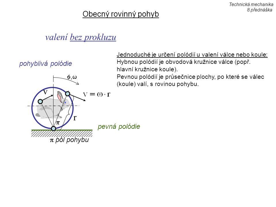 Obecný rovinný pohyb ,, valení bez prokluzu pevná polódie pohyblivá polódie  pól pohybu  v r Technická mechanika 8.přednáška Jednoduché je určení polódií u valení válce nebo koule: Hybnou polódií je obvodová kružnice válce (popř.
