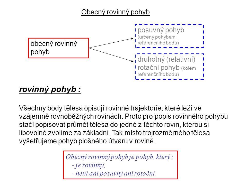 Technická mechanika 8.přednáška Obecný rovinný pohyb je pohyb, který : - je rovinný, - není ani posuvný ani rotační.