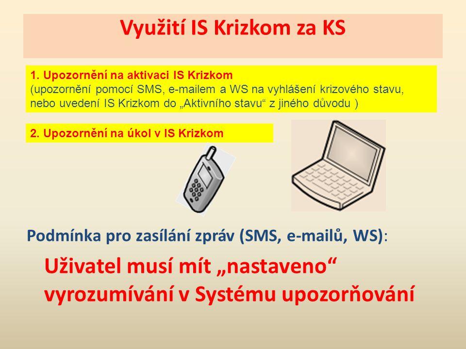 Využití IS Krizkom za KS 1. Upozornění na aktivaci IS Krizkom (upozornění pomocí SMS, e-mailem a WS na vyhlášení krizového stavu, nebo uvedení IS Kriz