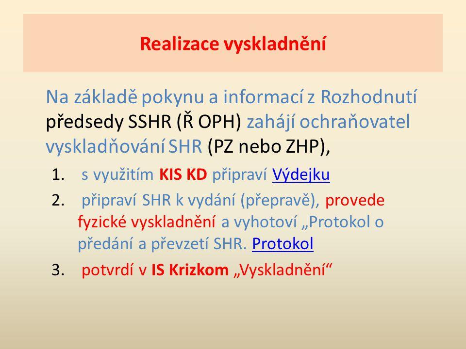 Realizace vyskladnění Na základě pokynu a informací z Rozhodnutí předsedy SSHR (Ř OPH) zahájí ochraňovatel vyskladňování SHR (PZ nebo ZHP), 1. s využi