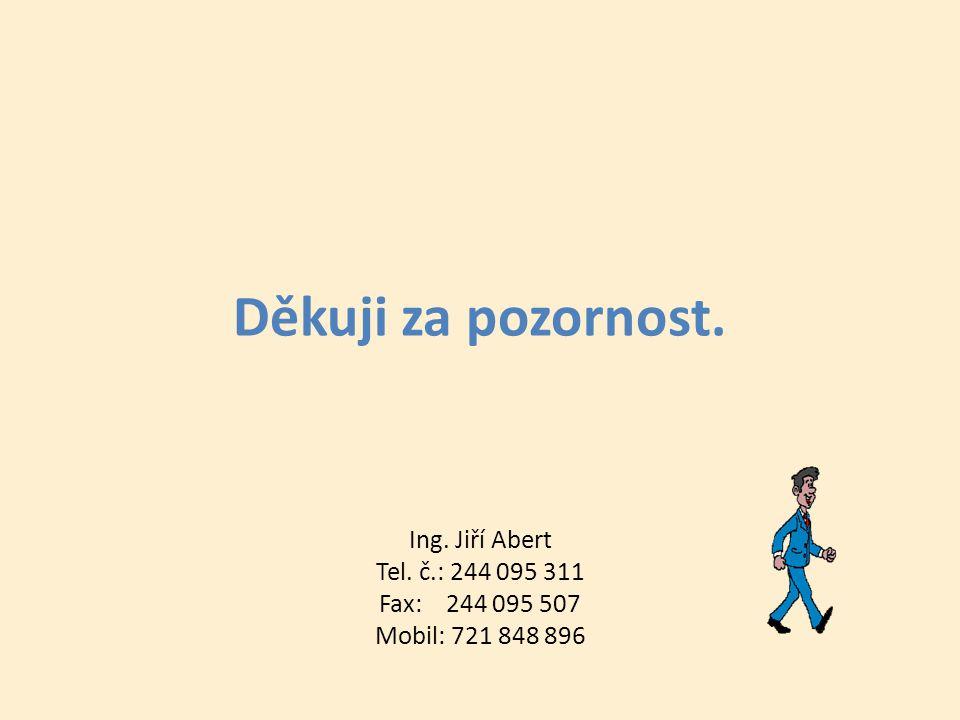 Děkuji za pozornost. Ing. Jiří Abert Tel. č.: 244 095 311 Fax: 244 095 507 Mobil: 721 848 896