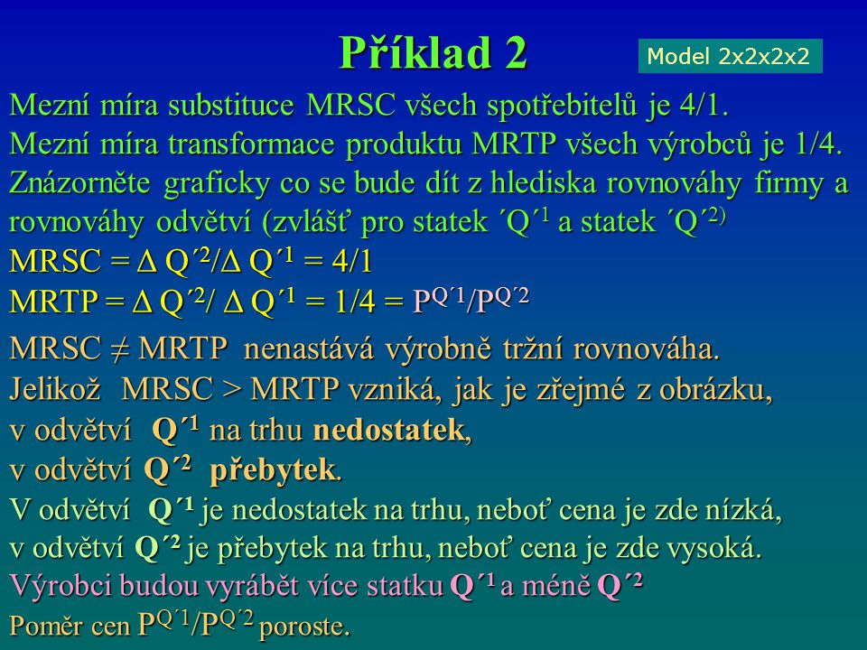 Příklad 2 Model 2x2x2x2 Mezní míra substituce MRSC všech spotřebitelů je 4/1. Mezní míra transformace produktu MRTP všech výrobců je 1/4. Znázorněte g