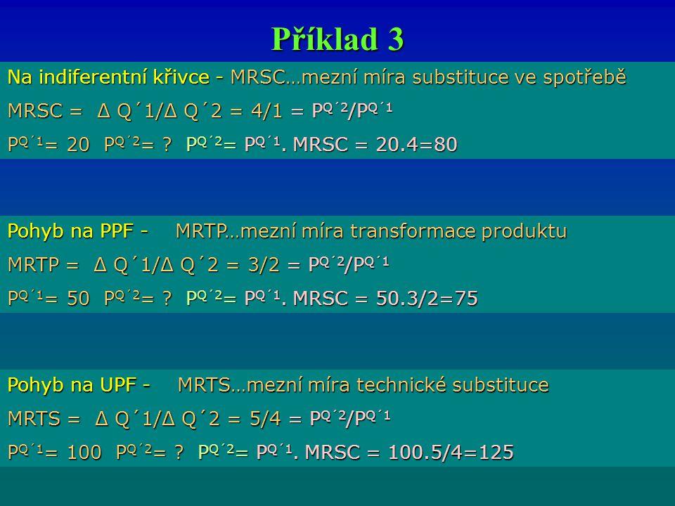 Příklad 3 Na indiferentní křivce - MRSC…mezní míra substituce ve spotřebě MRSC = Δ Q´1/Δ Q´2 = 4/1 = P Q´2 /P Q´1 P Q´1 = 20 P Q´2 = ? P Q´2 = P Q´1.