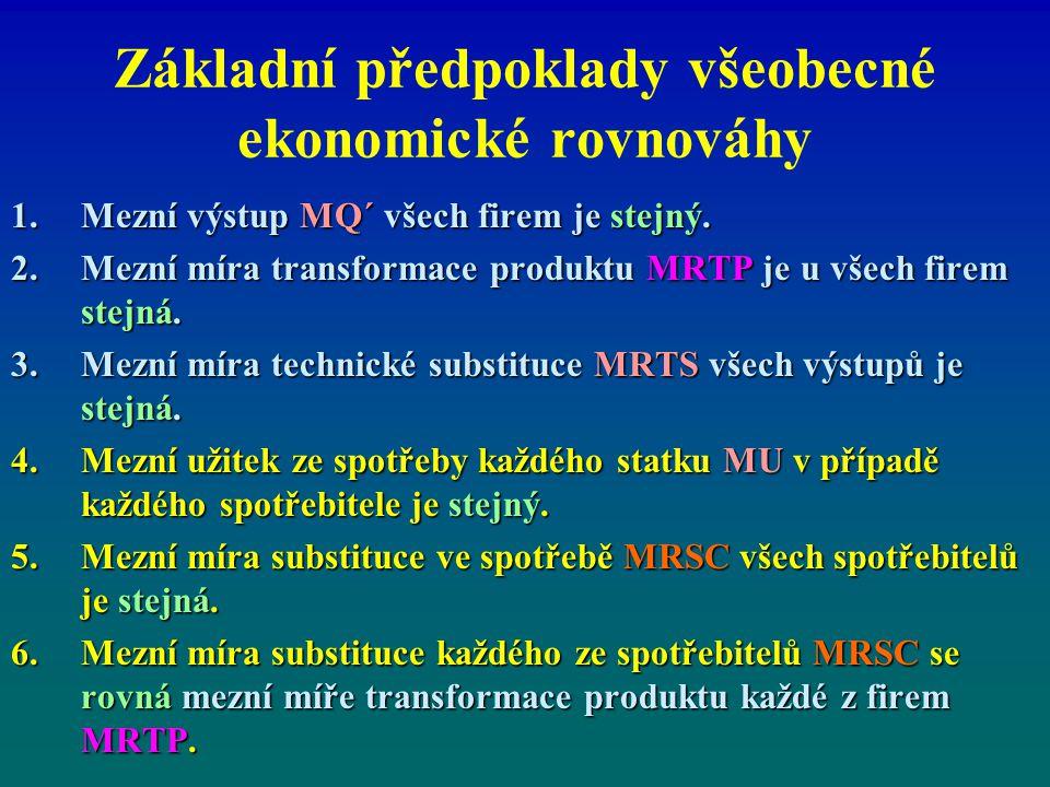 Základní předpoklady všeobecné ekonomické rovnováhy 1.Mezní výstup MQ´ všech firem je stejný. 2.Mezní míra transformace produktu MRTP je u všech firem