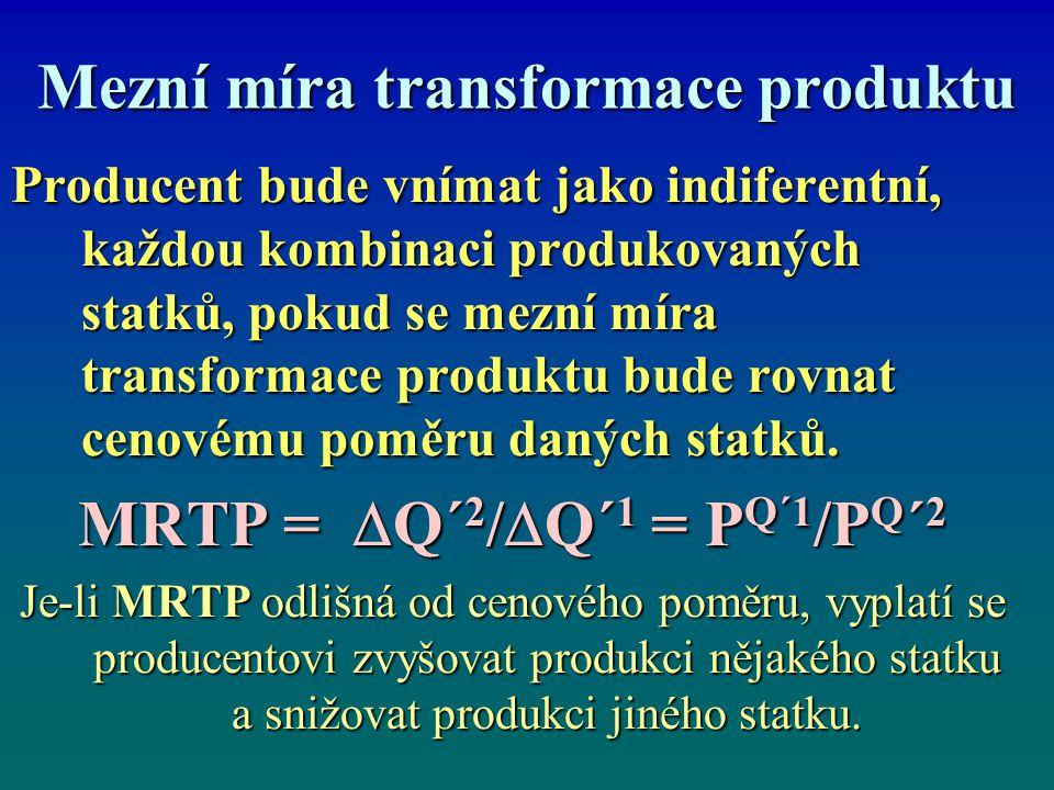 Mezní míra transformace Pokud má být alokace (umístnění) zdrojů v případě 2 firem, 2 výstupů paretovsky efektivní, musí být mezní míra transformace výstupu u obou firem stejná.