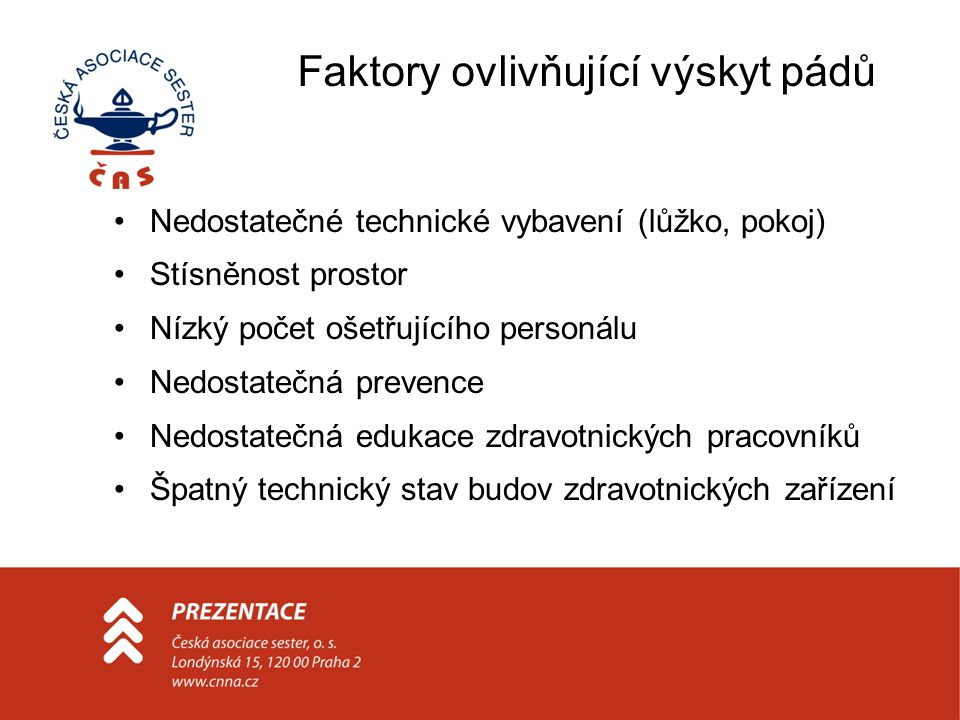 Faktory ovlivňující výskyt pádů Nedostatečné technické vybavení (lůžko, pokoj) Stísněnost prostor Nízký počet ošetřujícího personálu Nedostatečná prev