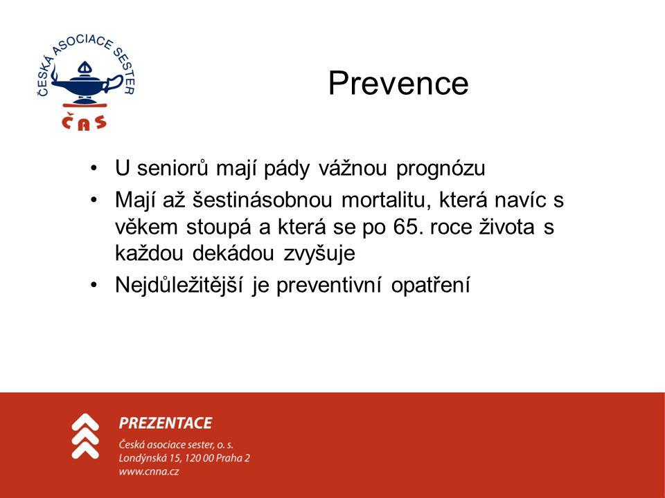 Prevence U seniorů mají pády vážnou prognózu Mají až šestinásobnou mortalitu, která navíc s věkem stoupá a která se po 65. roce života s každou dekádo