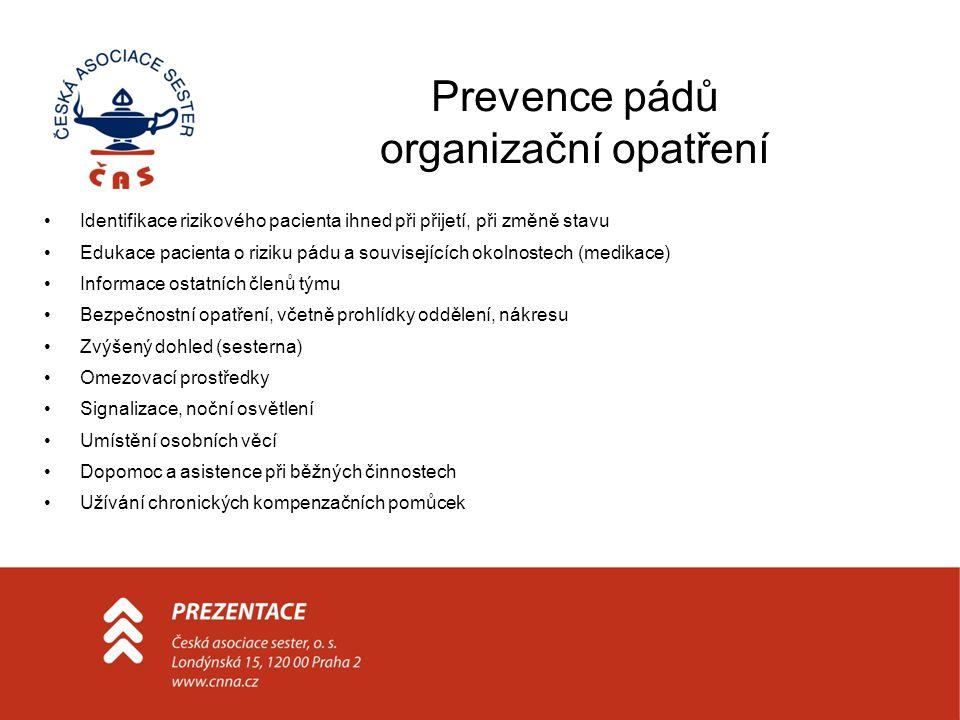 Prevence pádů organizační opatření Identifikace rizikového pacienta ihned při přijetí, při změně stavu Edukace pacienta o riziku pádu a souvisejících