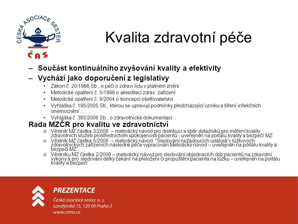 Kvalita zdravotní péče –Součást kontinuálního zvyšování kvality a efektivity –Vychází jako doporučení z legislativy Zákon č. 20/1966 Sb., o péči o zdr