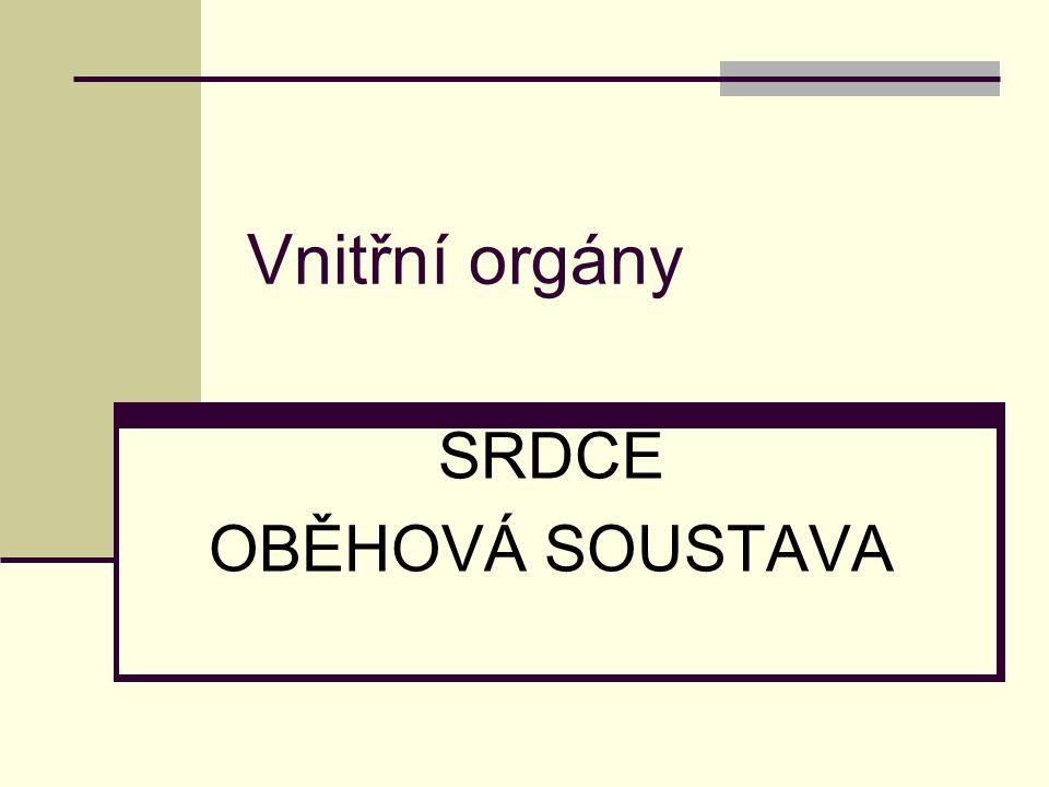 Vnitřní orgány SRDCE OBĚHOVÁ SOUSTAVA