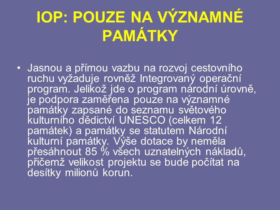IOP: POUZE NA VÝZNAMNÉ PAMÁTKY Jasnou a přímou vazbu na rozvoj cestovního ruchu vyžaduje rovněž Integrovaný operační program.