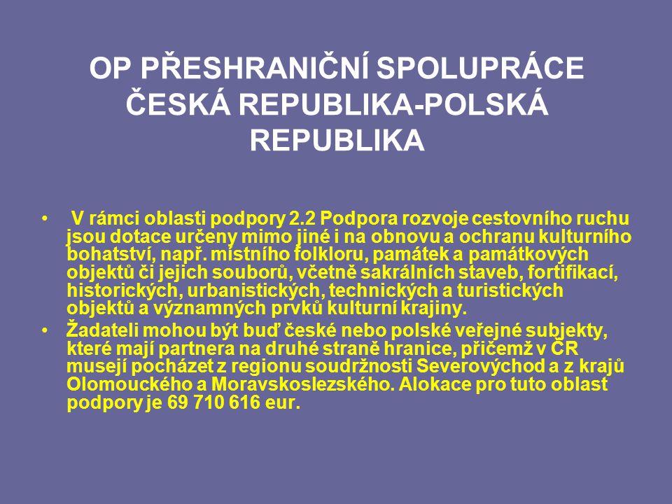 OP PŘESHRANIČNÍ SPOLUPRÁCE ČESKÁ REPUBLIKA-POLSKÁ REPUBLIKA V rámci oblasti podpory 2.2 Podpora rozvoje cestovního ruchu jsou dotace určeny mimo jiné i na obnovu a ochranu kulturního bohatství, např.