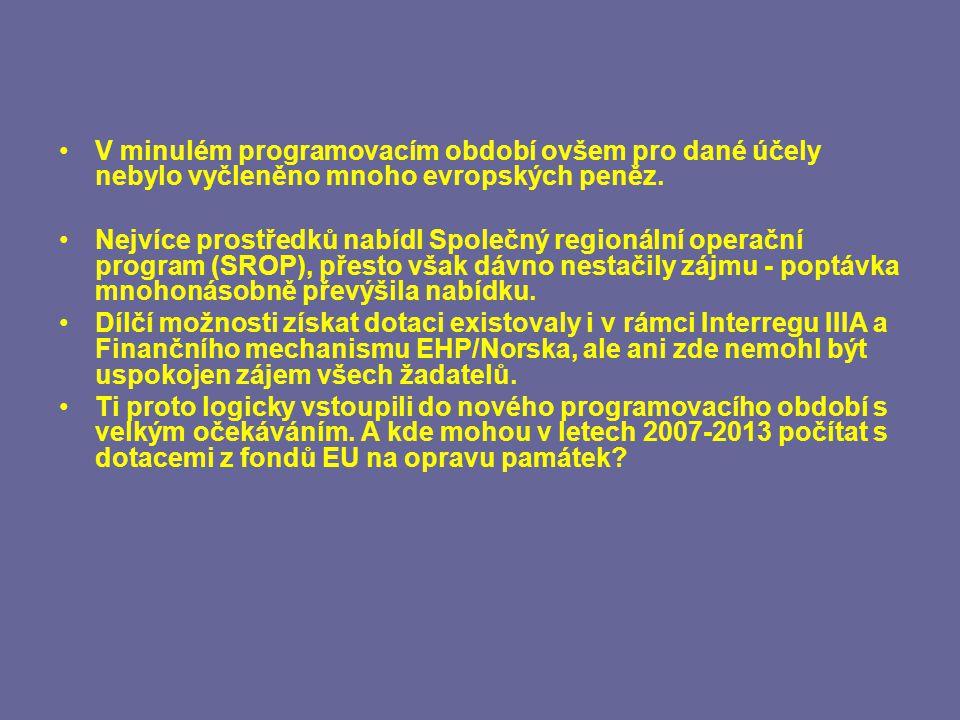 V minulém programovacím období ovšem pro dané účely nebylo vyčleněno mnoho evropských peněz.