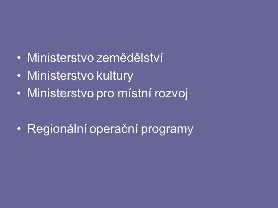Ministerstvo zemědělství Ministerstvo kultury Ministerstvo pro místní rozvoj Regionální operační programy