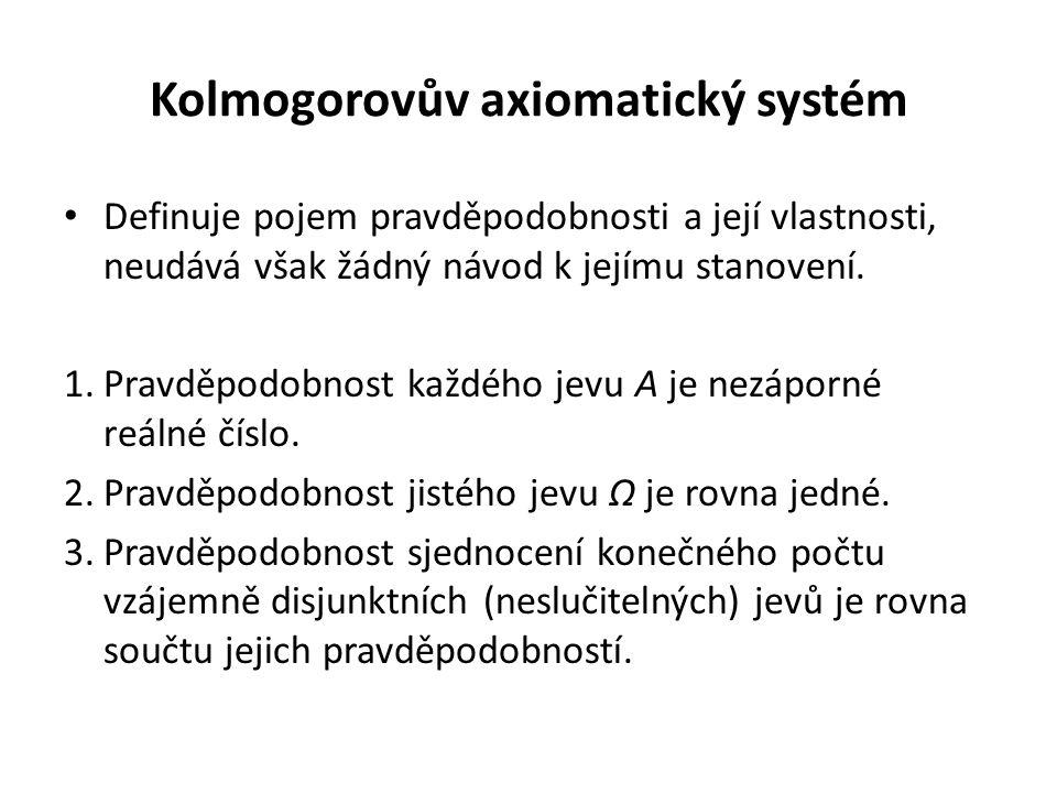Kolmogorovův axiomatický systém Definuje pojem pravděpodobnosti a její vlastnosti, neudává však žádný návod k jejímu stanovení. 1.Pravděpodobnost každ