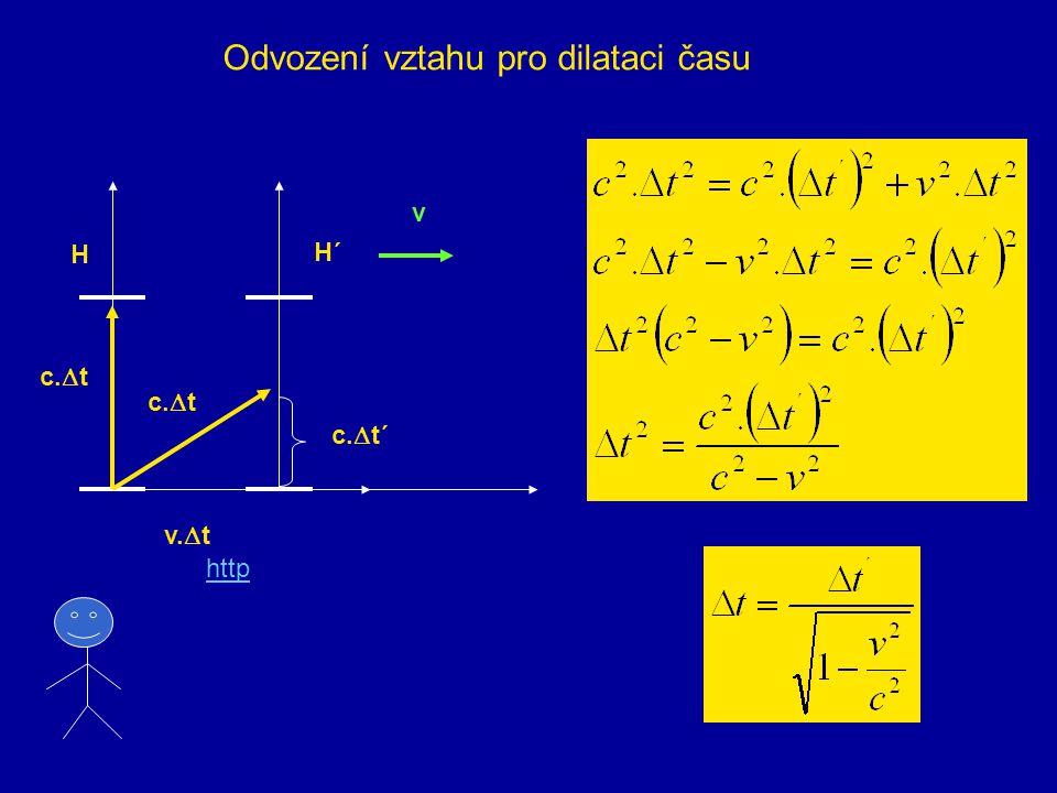 5. Dilatace času Světelné hodiny c Z 1 Z 2 Čas je odměřován periodickými odrazy světelného paprsku od zrcadel
