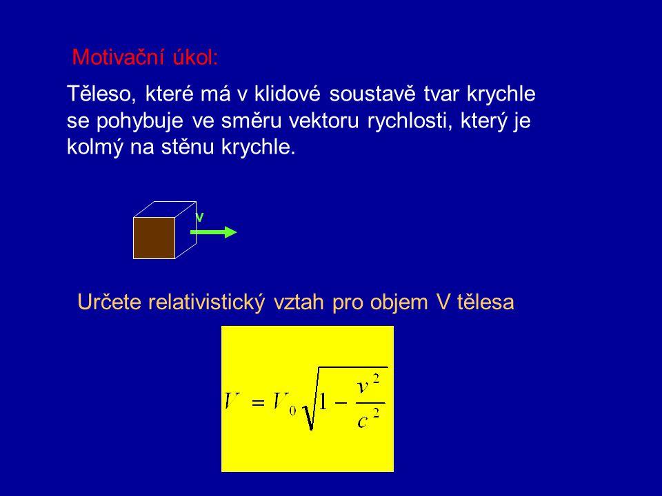 6. Kontrakce délek Délky ve směru pohybu se zkracují (kontrakce). Délky, které jsou kolmé na vektor rychlosti se zachovávají. l0l0 v=0 l v