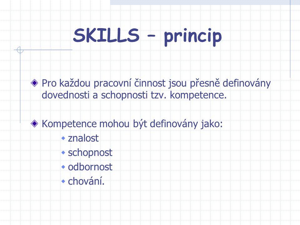 SKILLS – princip Pro každou pracovní činnost jsou přesně definovány dovednosti a schopnosti tzv. kompetence. Kompetence mohou být definovány jako:  z