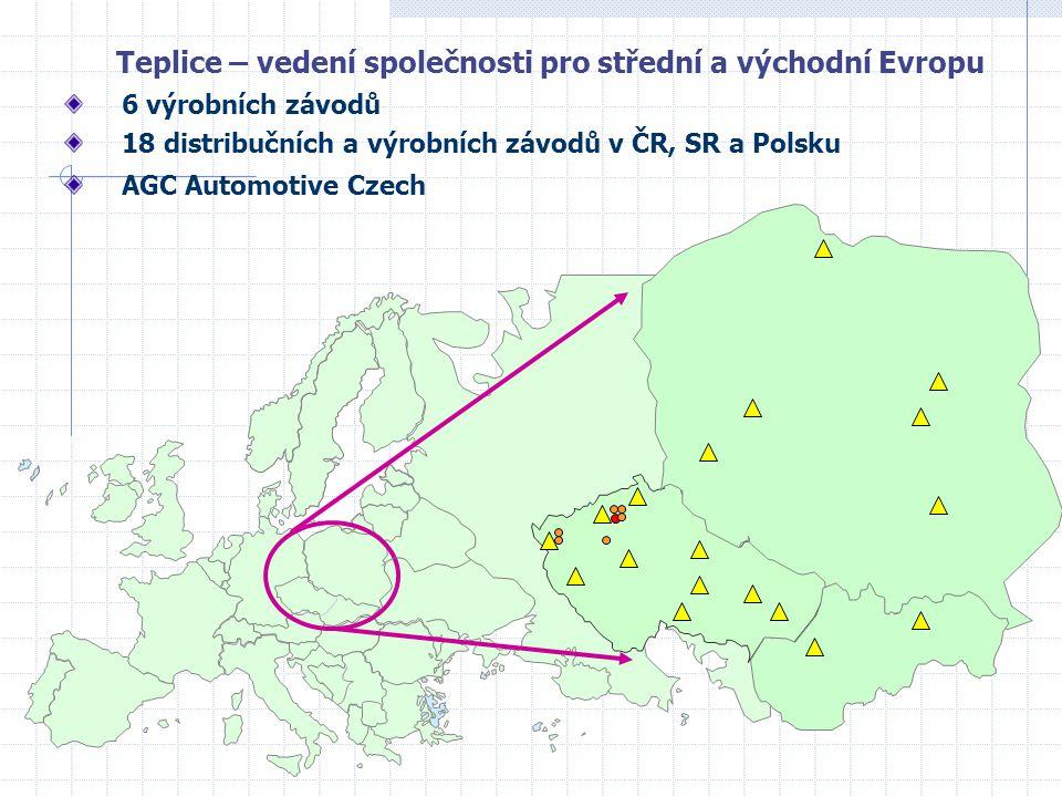 Teplice – vedení společnosti pro střední a východní Evropu 6 výrobních závodů 18 distribučních a výrobních závodů v ČR, SR a Polsku AGC Automotive Cze