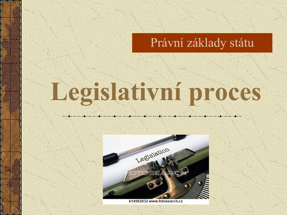 Legislativní proces je proces tvorby a schvalování zákonů jeho pravidla jsou stanovena v ústavě pro přijetí zákona jsou zapotřebí 4 kroky:  zákonodárná iniciativa  projednání návrhu zákona  schválení návrhu zákona  vyhlášení zákona