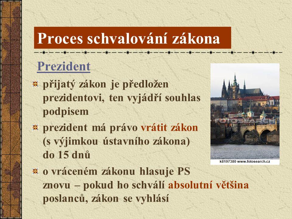 Proces schvalování zákona Prezident přijatý zákon je předložen prezidentovi, ten vyjádří souhlas podpisem prezident má právo vrátit zákon (s výjimkou