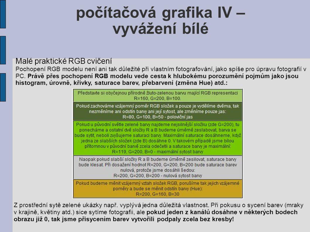 počítačová grafika IV – vyvážení bílé Malé praktické RGB cvičení Pochopení RGB modelu není ani tak důležité při vlastním fotografování, jako spíše pro