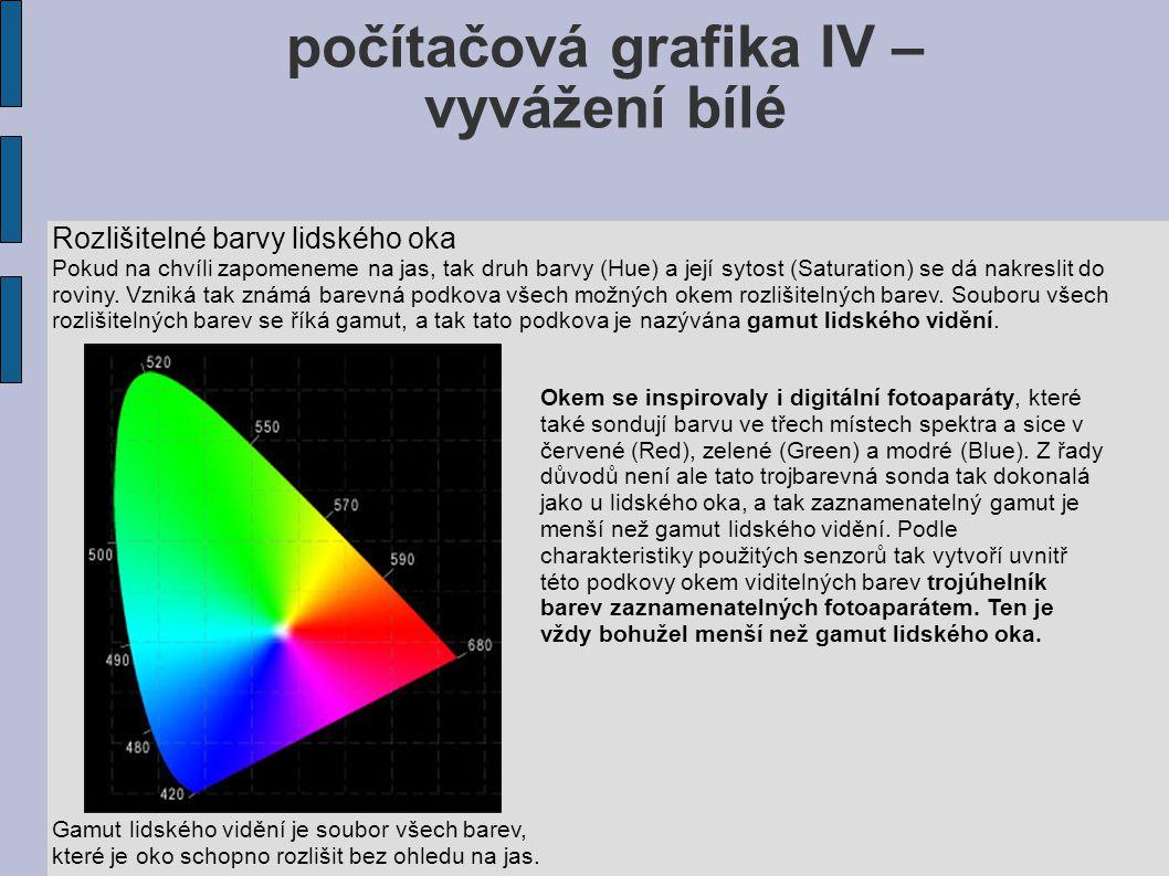počítačová grafika IV – vyvážení bílé Rozlišitelné barvy lidského oka Pokud na chvíli zapomeneme na jas, tak druh barvy (Hue) a její sytost (Saturatio