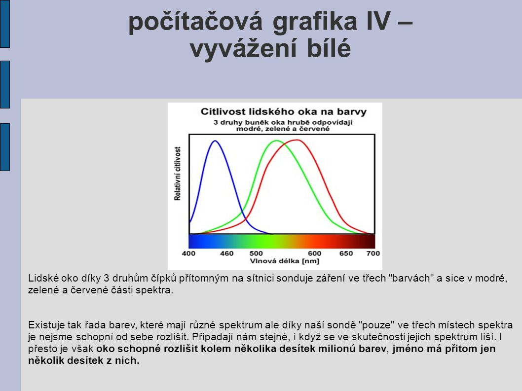 počítačová grafika IV – vyvážení bílé Lidské oko díky 3 druhům čípků přítomným na sítnici sonduje záření ve třech