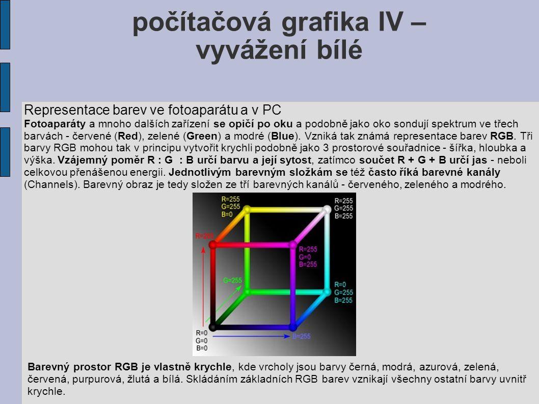 počítačová grafika IV – vyvážení bílé Representace barev ve fotoaparátu a v PC Fotoaparáty a mnoho dalších zařízení se opičí po oku a podobně jako oko